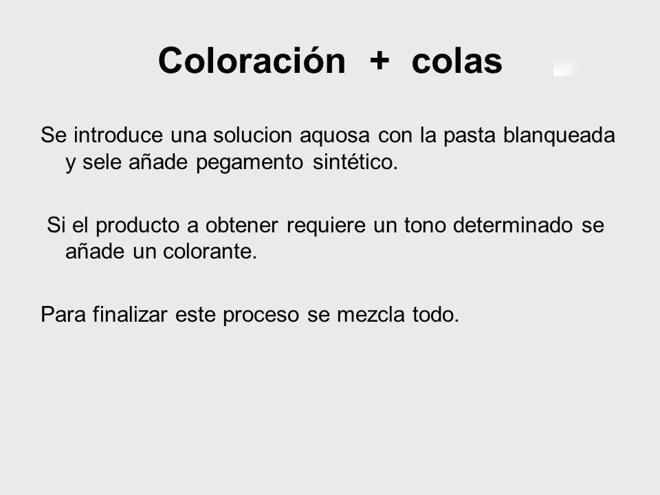 Coloración + colas Se introduce una solucion aquosa con la pasta blanqueada y sele añade pegamento sintético. Si el producto a obtener requiere un ton