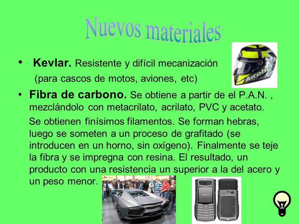 Kevlar. Resistente y difícil mecanización (para cascos de motos, aviones, etc) Fibra de carbono. Se obtiene a partir de el P.A.N., mezclándolo con met