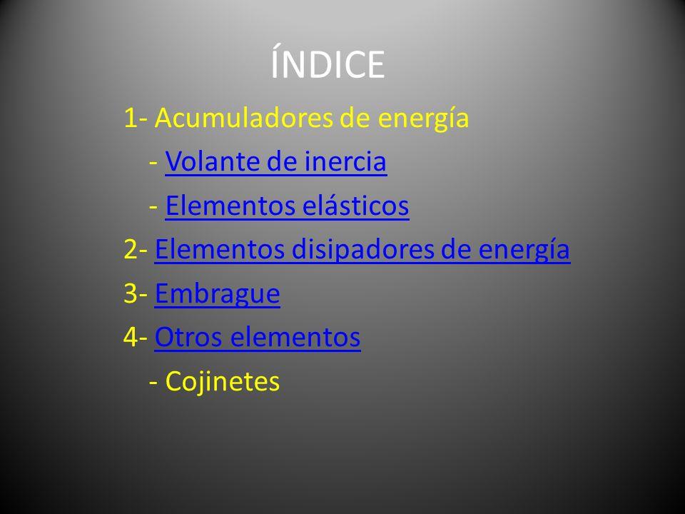 ÍNDICE 1- Acumuladores de energía - Volante de inerciaVolante de inercia - Elementos elásticosElementos elásticos 2- Elementos disipadores de energíaE