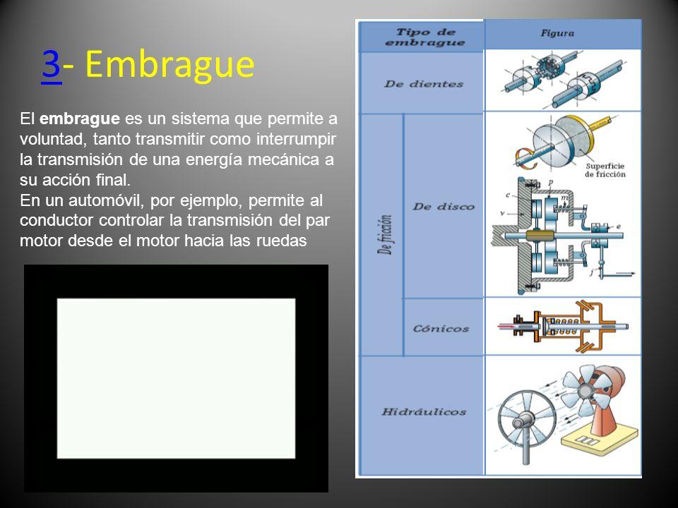 33- Embrague El embrague es un sistema que permite a voluntad, tanto transmitir como interrumpir la transmisión de una energía mecánica a su acción fi