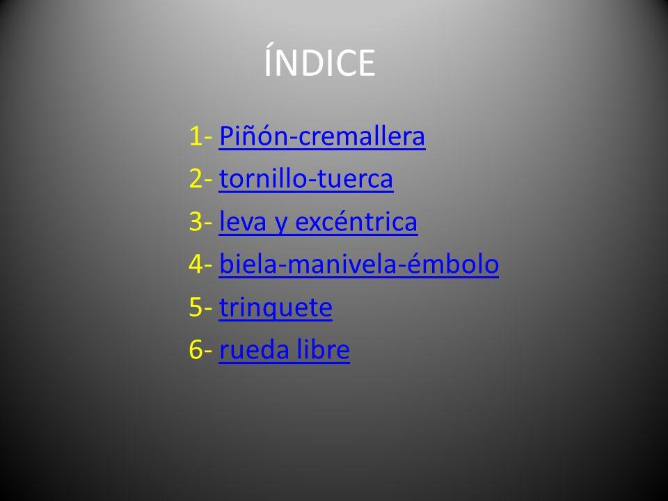 ÍNDICE 1- Piñón-cremalleraPiñón-cremallera 2- tornillo-tuercatornillo-tuerca 3- leva y excéntricaleva y excéntrica 4- biela-manivela-émbolobiela-maniv