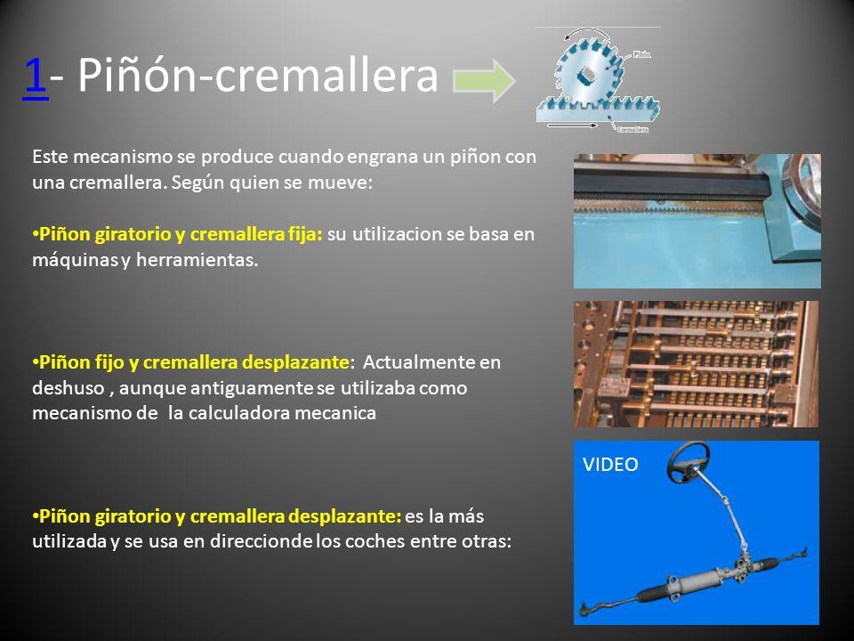 11- Piñón-cremallera VIDEO Este mecanismo se produce cuando engrana un piñon con una cremallera. Según quien se mueve: Piñon giratorio y cremallera fi