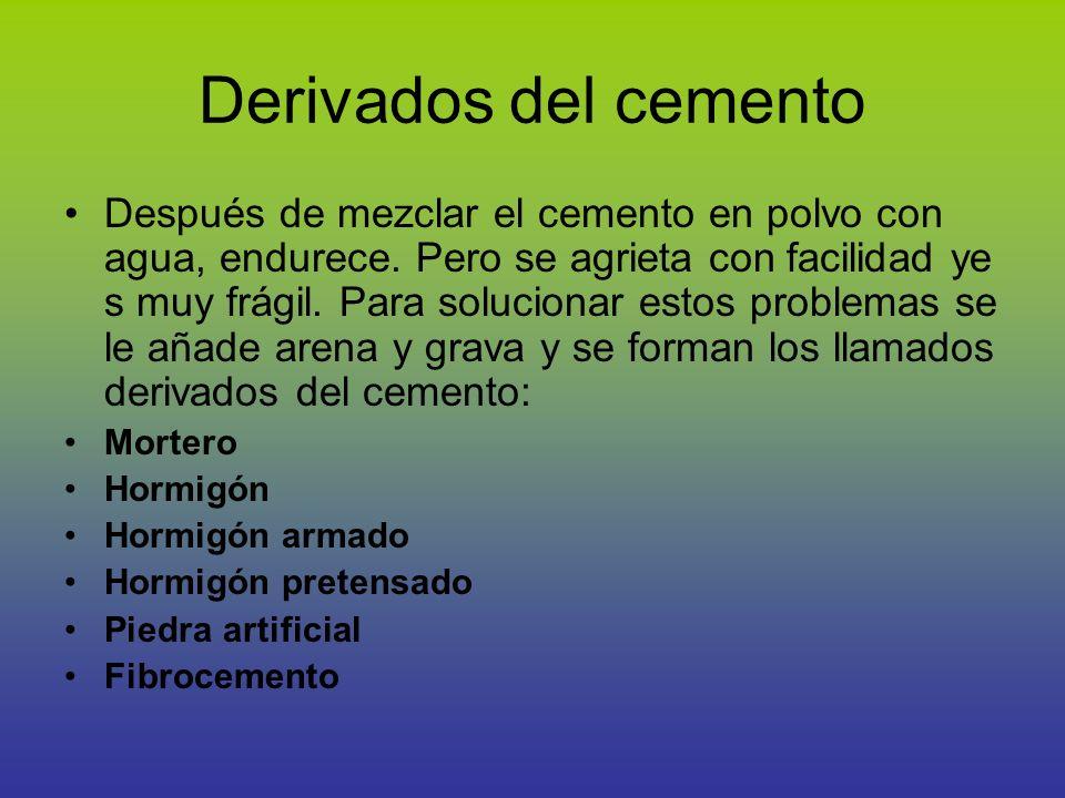 Mortero Es una mezcla de cemento en polvo, agua y arena.