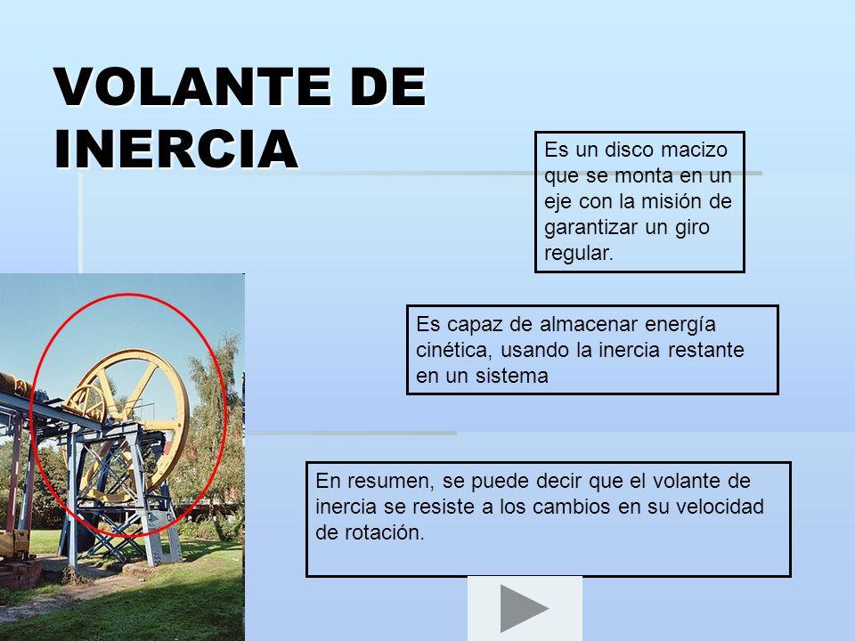 VOLANTE DE INERCIA Es un disco macizo que se monta en un eje con la misión de garantizar un giro regular. Es capaz de almacenar energía cinética, usan