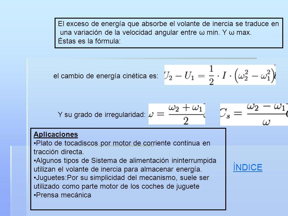 El exceso de energía que absorbe el volante de inercia se traduce en una variación de la velocidad angular entre ω min. Y ω max. Éstas es la fórmula: