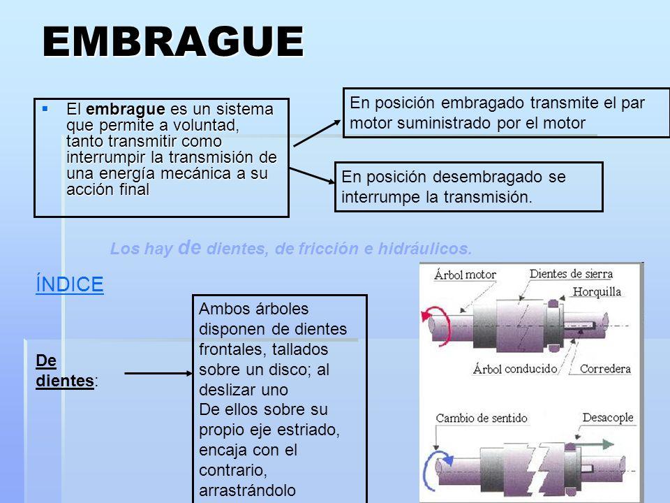 EMBRAGUE El embrague es un sistema que permite a voluntad, tanto transmitir como interrumpir la transmisión de una energía mecánica a su acción final