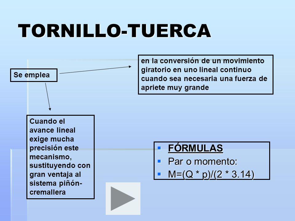 TORNILLO-TUERCA FÓRMULAS FÓRMULAS Par o momento: Par o momento: M=(Q * p)/(2 * 3.14) M=(Q * p)/(2 * 3.14) Se emplea en la conversión de un movimiento