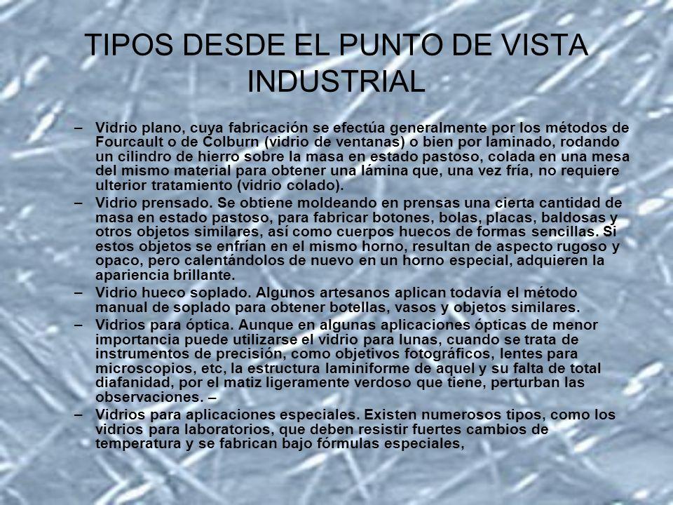 TIPOS DESDE EL PUNTO DE VISTA INDUSTRIAL –Vidrio plano, cuya fabricación se efectúa generalmente por los métodos de Fourcault o de Colburn (vidrio de