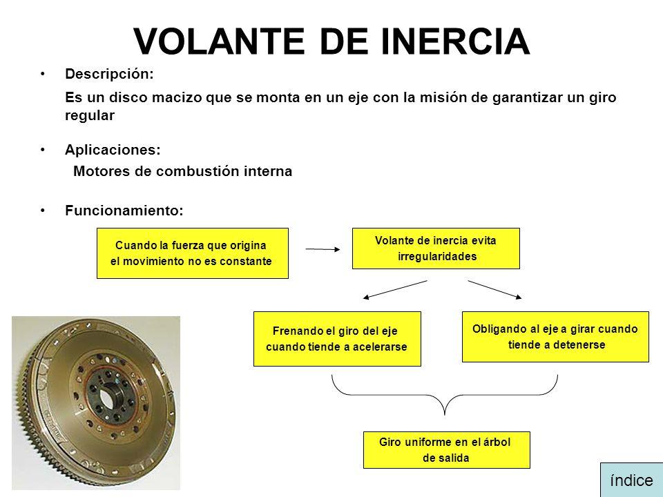 VOLANTE DE INERCIA Descripción: Es un disco macizo que se monta en un eje con la misión de garantizar un giro regular Aplicaciones: Motores de combust