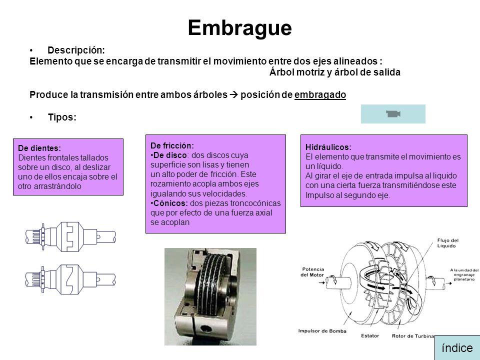 Embrague Descripción: Elemento que se encarga de transmitir el movimiento entre dos ejes alineados : Árbol motriz y árbol de salida Produce la transmi
