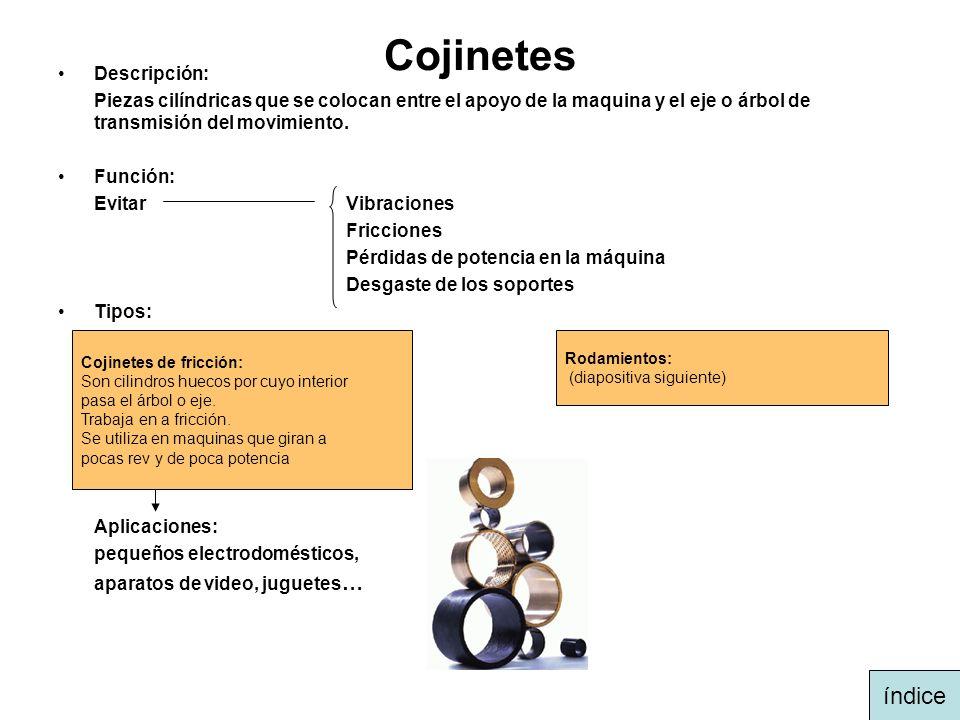 Cojinetes Descripción: Piezas cilíndricas que se colocan entre el apoyo de la maquina y el eje o árbol de transmisión del movimiento. Función: Evitar