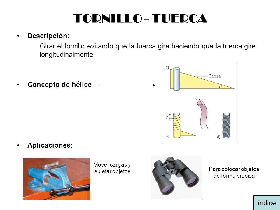 TORNILLO - TUERCA Descripción: Girar el tornillo evitando que la tuerca gire haciendo que la tuerca gire longitudinalmente Concepto de hélice Aplicaci