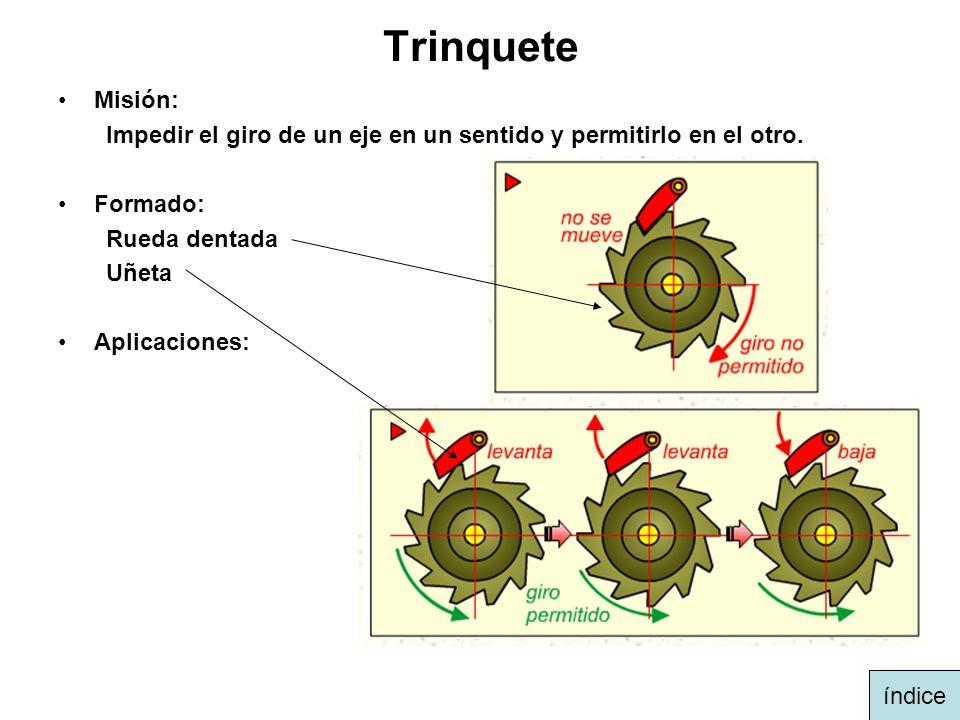 Trinquete Misión: Impedir el giro de un eje en un sentido y permitirlo en el otro. Formado: Rueda dentada Uñeta Aplicaciones: índice