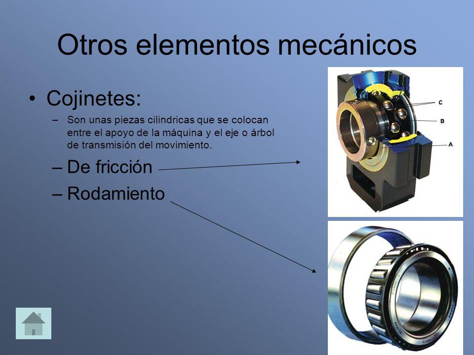 Otros elementos mecánicos Cojinetes: –Son unas piezas cilindricas que se colocan entre el apoyo de la máquina y el eje o árbol de transmisión del movimiento.