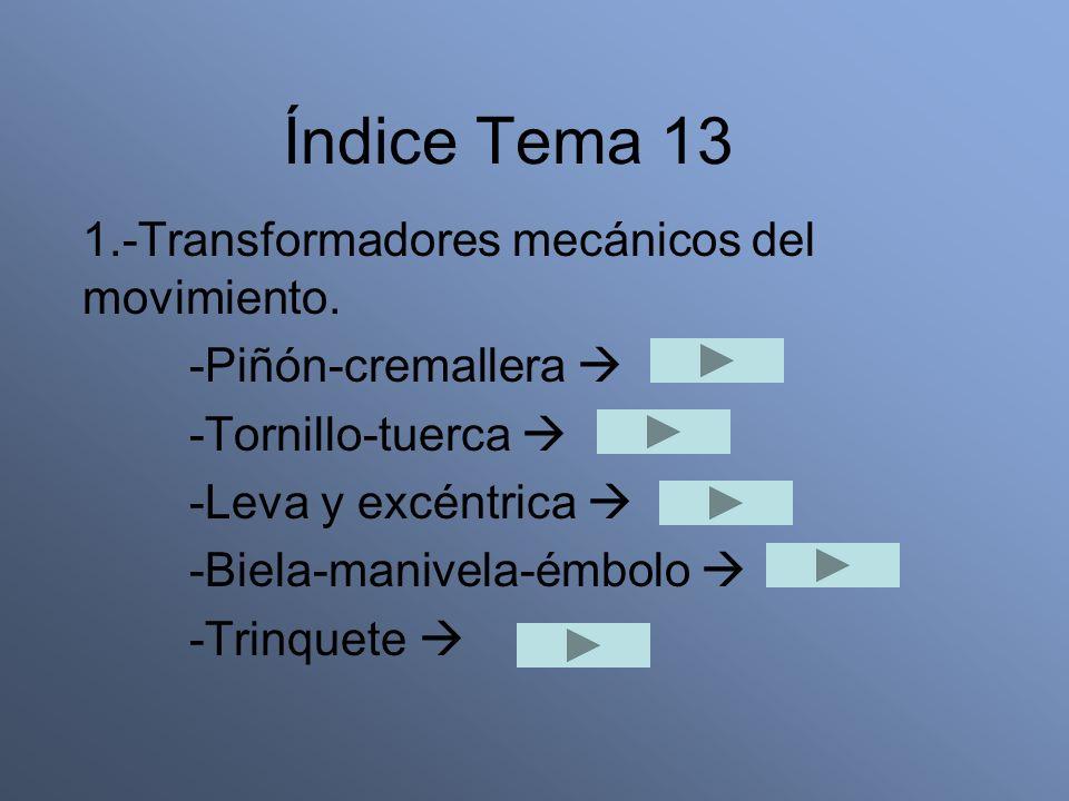 Índice Tema 13 1.-Transformadores mecánicos del movimiento. -Piñón-cremallera -Tornillo-tuerca -Leva y excéntrica -Biela-manivela-émbolo -Trinquete