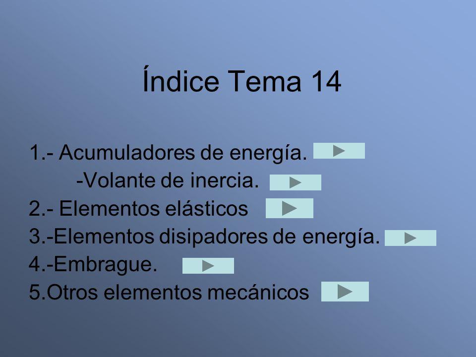 Índice Tema 14 1.- Acumuladores de energía. -Volante de inercia. 2.- Elementos elásticos 3.-Elementos disipadores de energía. 4.-Embrague. 5.Otros ele