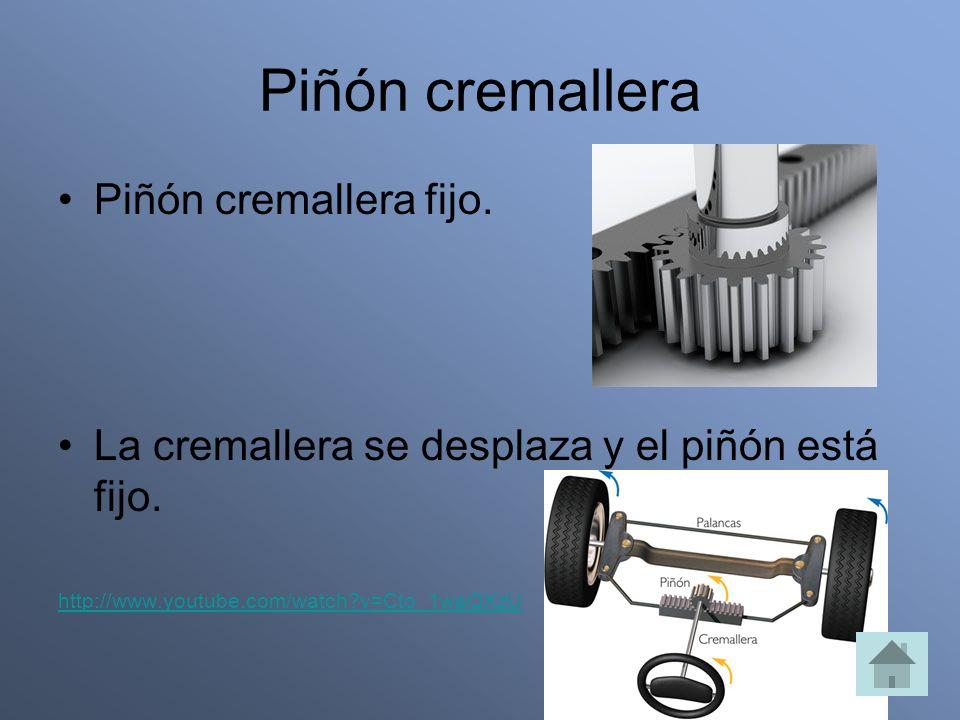Piñón cremallera Piñón cremallera fijo. La cremallera se desplaza y el piñón está fijo. http://www.youtube.com/watch?v=Cto_1waQXzU