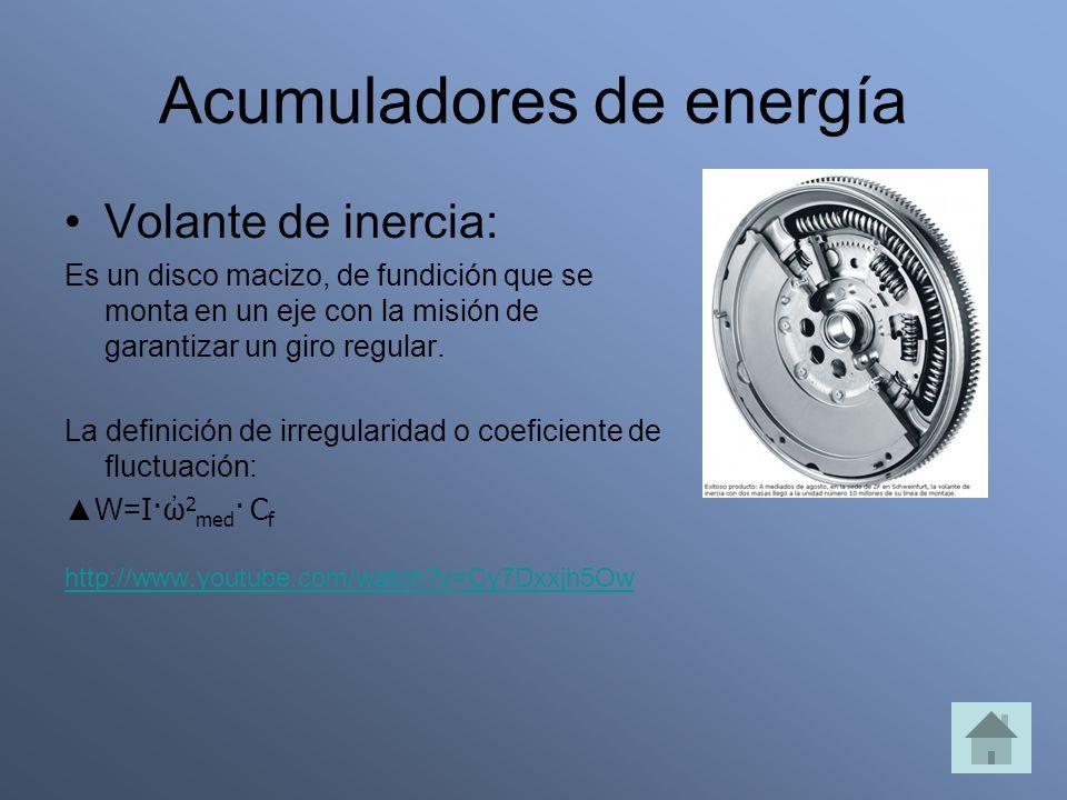 Acumuladores de energía Volante de inercia: Es un disco macizo, de fundición que se monta en un eje con la misión de garantizar un giro regular. La de
