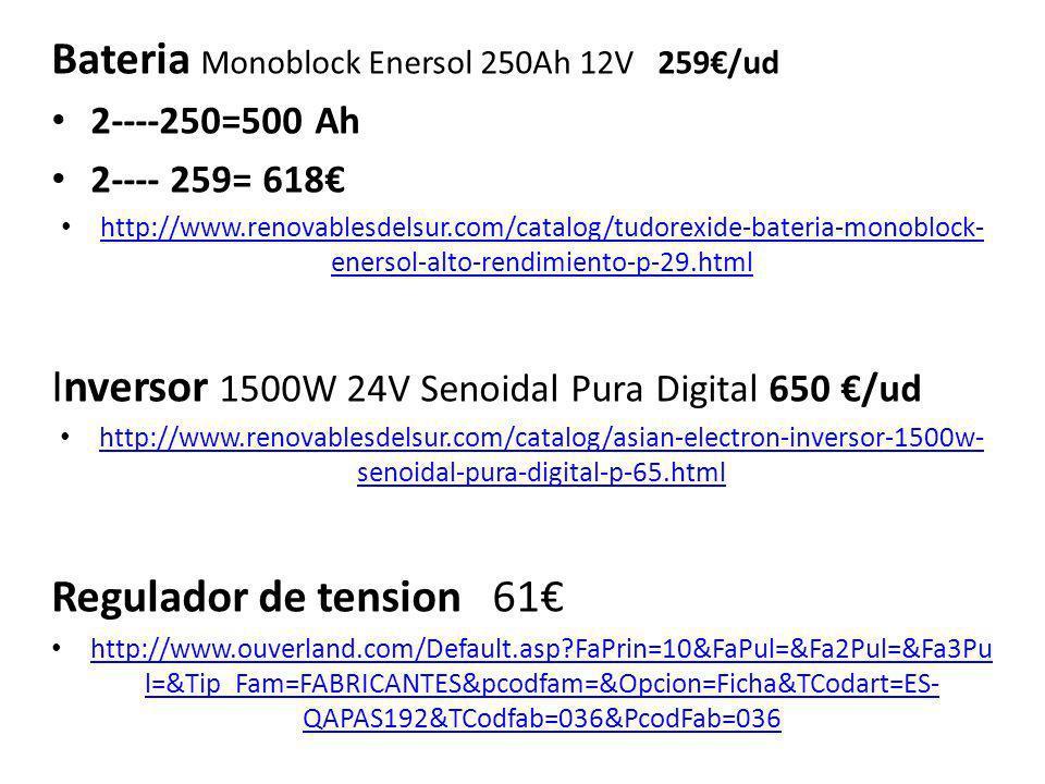 Amortización PRECIO DE LA INSTALACION = 5504 ( sin incluir electrodomésticos apropiados ) Frigorífico---------------- 175W24h 4.2Kwh Lavadora----------------- 500W1h0.5Kwh Plancha ------------------- 400W1h0.4Kwh Televisión ---------------- 50W5h0.25Kwh Ordenador----------------200W4h0.8Kwh Router -------------------- 6,6 W24h0.1584Kwh 10 bombillas de bajo consumo de 22W = 10x 22= 220W 5h 80% 0.88Kwh TOTAL kWh al dia 7.1884 KWh Solar 5.6 h * 140W X 6= 4710W Eólica 55% y con tan solo 6 horas produciríamos la E restante suficiente y comenzaríamos a llenar las baterias Prod=+ de 2478.4 w