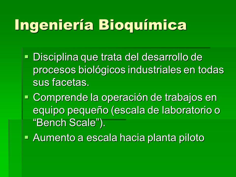 Ingeniería Bioquímica Disciplina que trata del desarrollo de procesos biológicos industriales en todas sus facetas. Disciplina que trata del desarroll