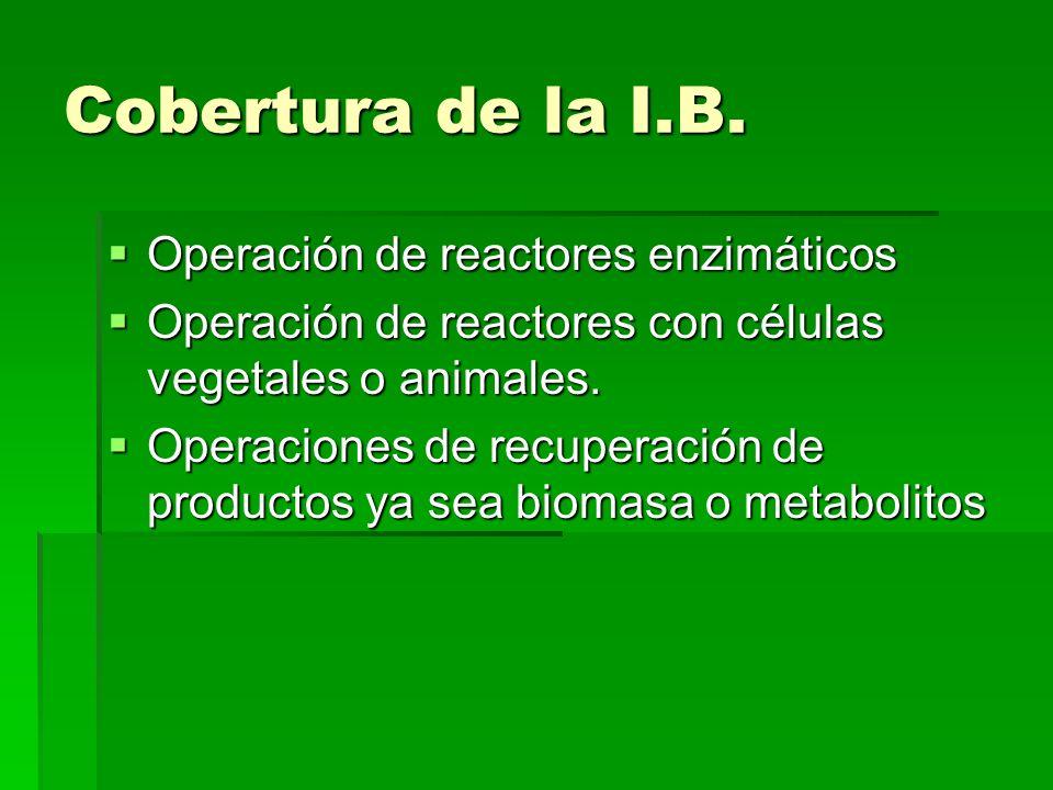 Cobertura de la I.B. Operación de reactores enzimáticos Operación de reactores enzimáticos Operación de reactores con células vegetales o animales. Op
