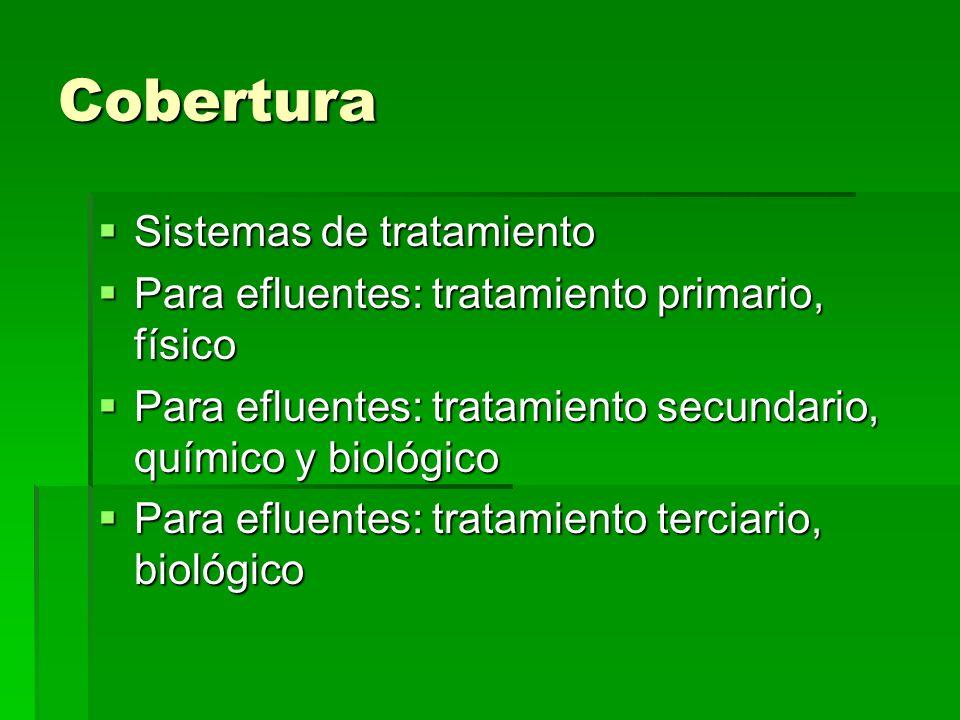 Cobertura Sistemas de tratamiento Sistemas de tratamiento Para efluentes: tratamiento primario, físico Para efluentes: tratamiento primario, físico Pa