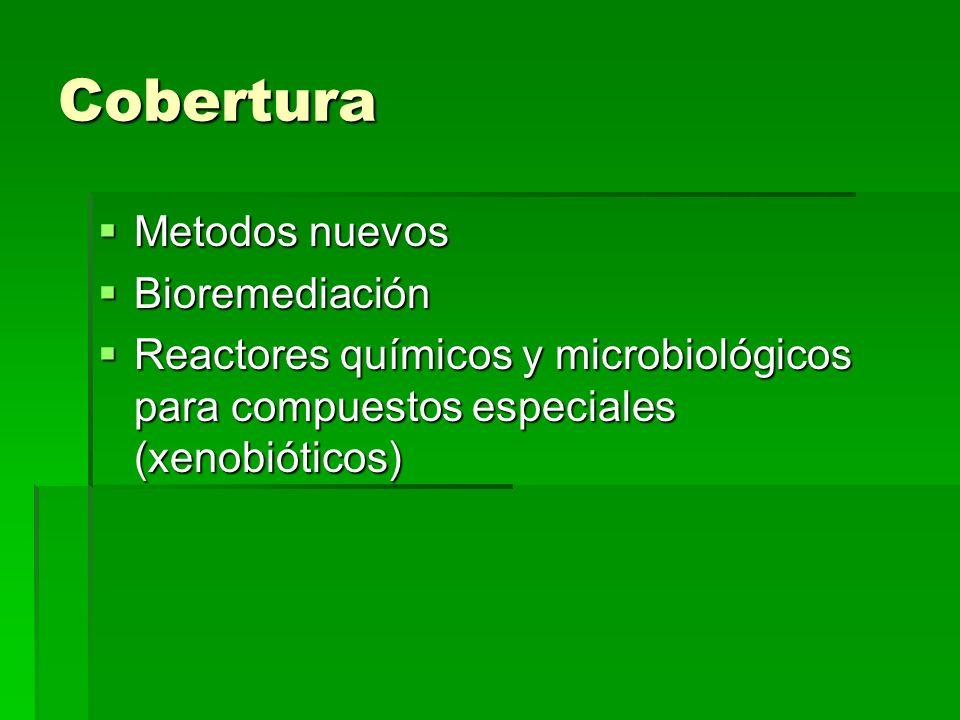 Cobertura Metodos nuevos Metodos nuevos Bioremediación Bioremediación Reactores químicos y microbiológicos para compuestos especiales (xenobióticos) R
