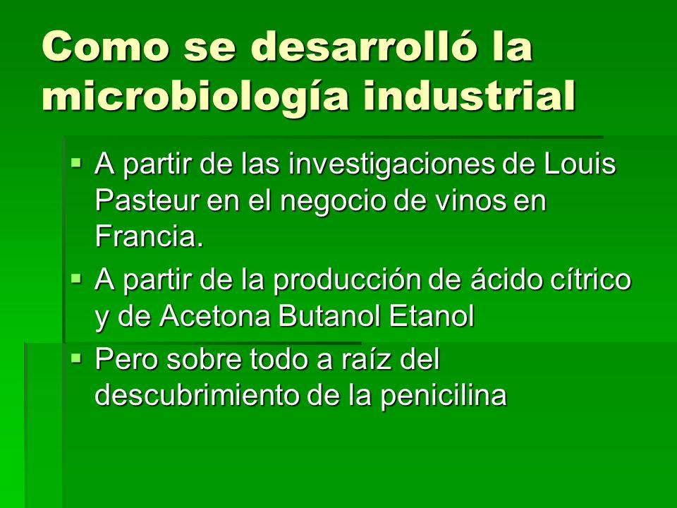 Como se desarrolló la microbiología industrial A partir de las investigaciones de Louis Pasteur en el negocio de vinos en Francia. A partir de las inv