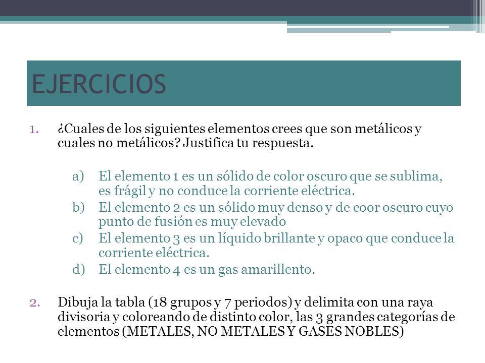 EJERCICIOS 1.¿Cuales de los siguientes elementos crees que son metálicos y cuales no metálicos? Justifica tu respuesta. a)El elemento 1 es un sólido d