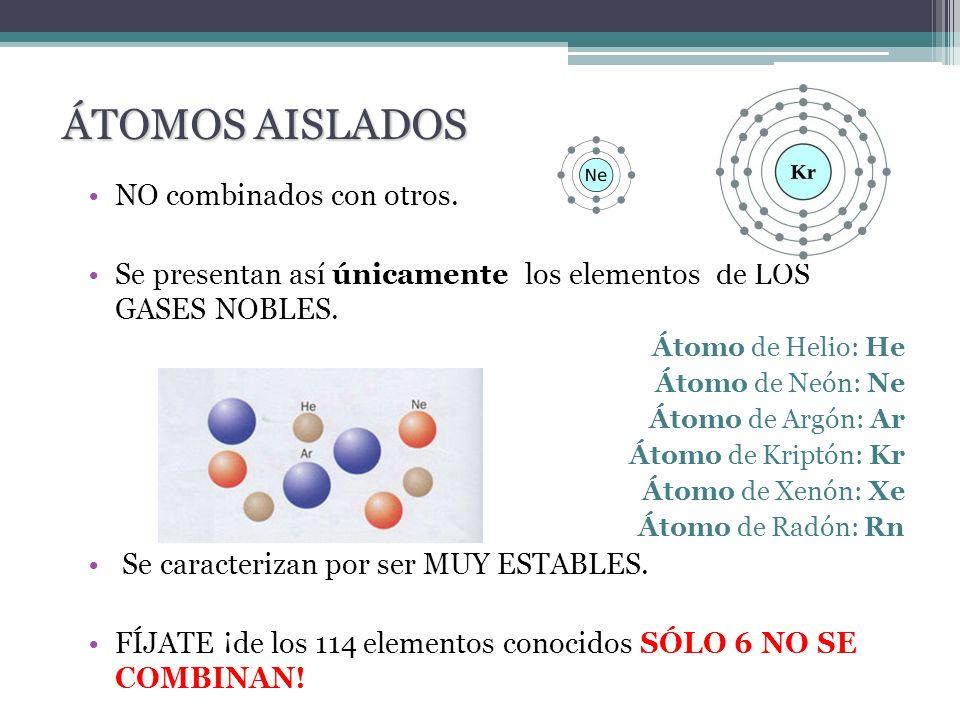 NO combinados con otros. Se presentan así únicamente los elementos de LOS GASES NOBLES. Átomo de Helio: He Átomo de Neón: Ne Átomo de Argón: Ar Átomo