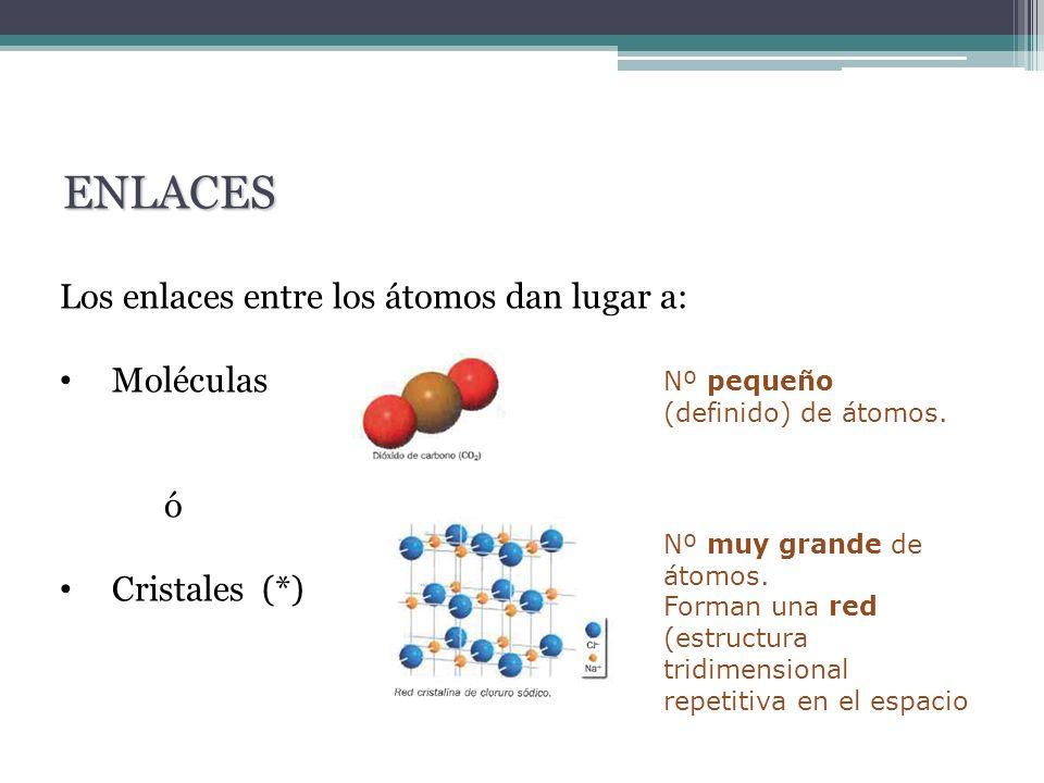 Los enlaces entre los átomos dan lugar a: Moléculas ó Cristales (*) ENLACES Nº pequeño (definido) de átomos. Nº muy grande de átomos. Forman una red (