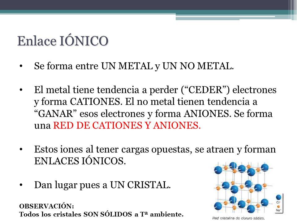 Se forma entre UN METAL y UN NO METAL. El metal tiene tendencia a perder (CEDER) electrones y forma CATIONES. El no metal tienen tendencia a GANAR eso