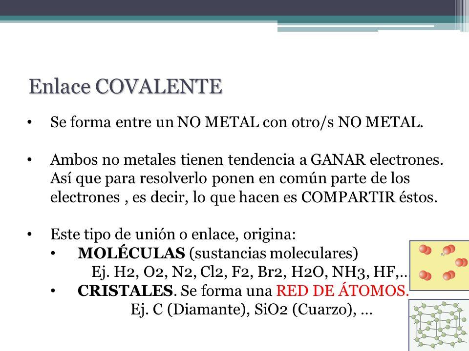 Se forma entre un NO METAL con otro/s NO METAL. Ambos no metales tienen tendencia a GANAR electrones. Así que para resolverlo ponen en común parte de