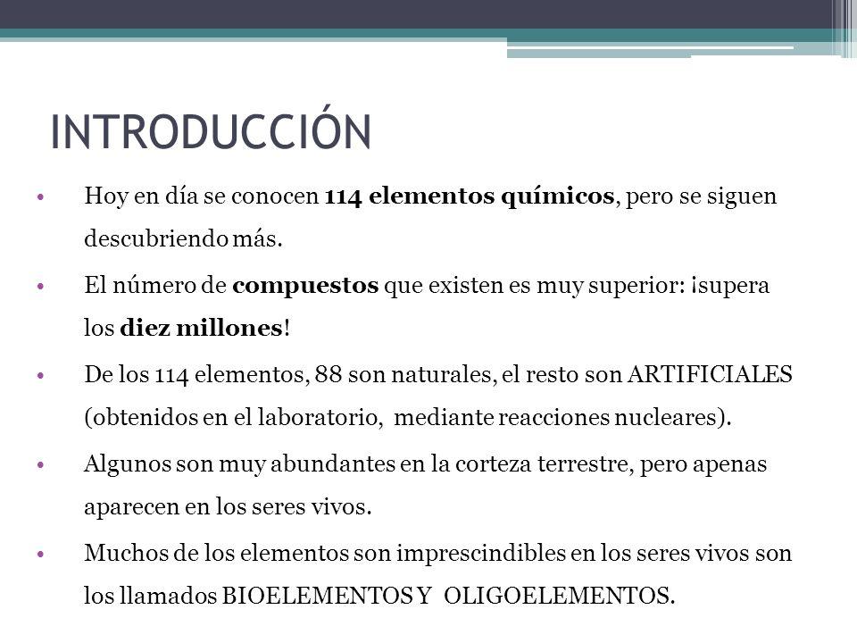 INTRODUCCIÓN Hoy en día se conocen 114 elementos químicos, pero se siguen descubriendo más. El número de compuestos que existen es muy superior: ¡supe