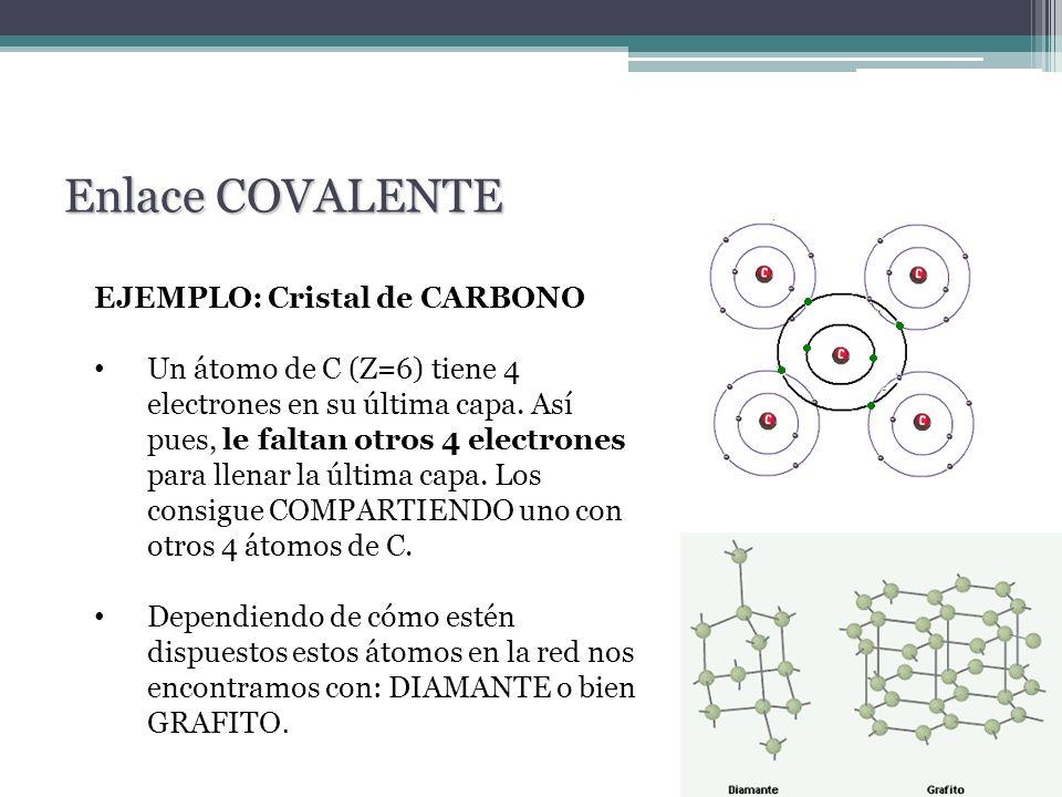 EJEMPLO: Cristal de CARBONO Un átomo de C (Z=6) tiene 4 electrones en su última capa. Así pues, le faltan otros 4 electrones para llenar la última cap