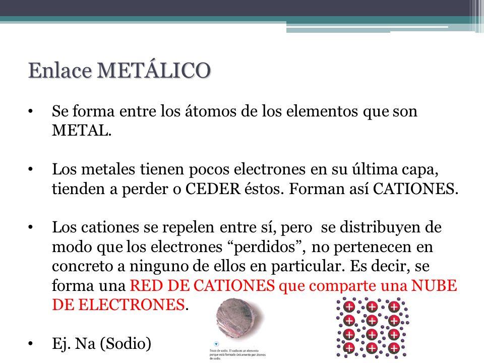 Se forma entre los átomos de los elementos que son METAL. Los metales tienen pocos electrones en su última capa, tienden a perder o CEDER éstos. Forma
