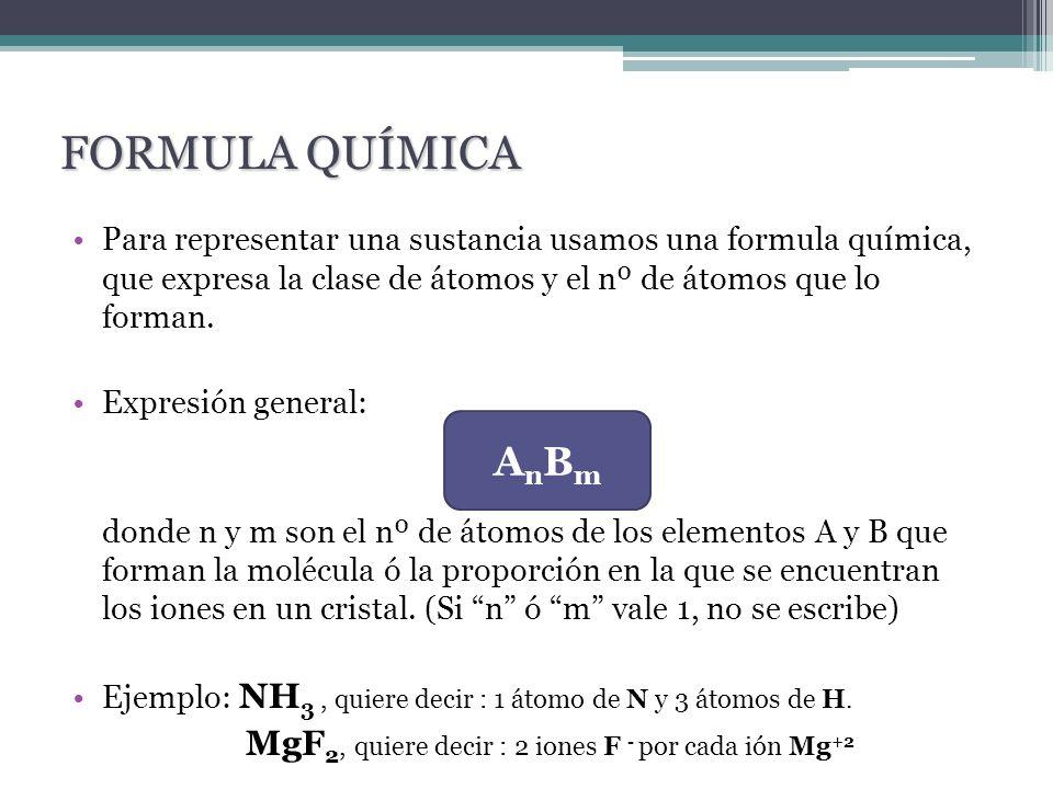 Para representar una sustancia usamos una formula química, que expresa la clase de átomos y el nº de átomos que lo forman. Expresión general: donde n
