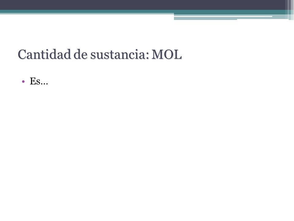 Es… Cantidad de sustancia: MOL