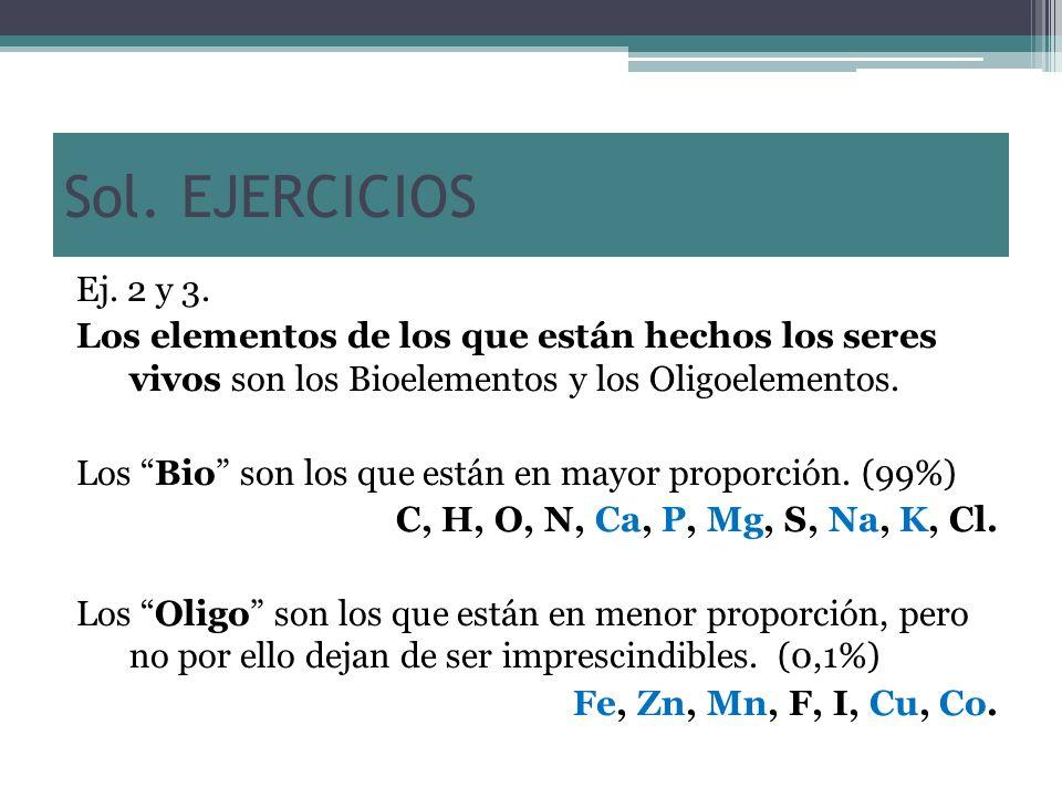 Sol. EJERCICIOS Ej. 2 y 3. Los elementos de los que están hechos los seres vivos son los Bioelementos y los Oligoelementos. Los Bio son los que están