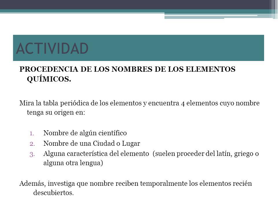 PROCEDENCIA DE LOS NOMBRES DE LOS ELEMENTOS QUÍMICOS. Mira la tabla periódica de los elementos y encuentra 4 elementos cuyo nombre tenga su origen en: