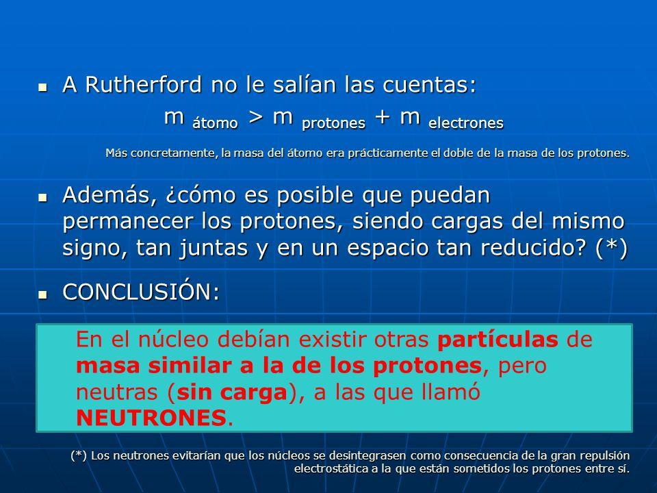 A Rutherford no le salían las cuentas: A Rutherford no le salían las cuentas: m átomo > m protones + m electrones Más concretamente, la masa del átomo