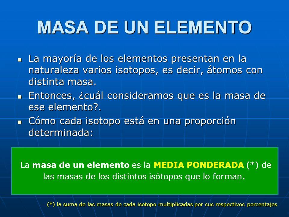 MASA DE UN ELEMENTO La mayoría de los elementos presentan en la naturaleza varios isotopos, es decir, átomos con distinta masa. La mayoría de los elem