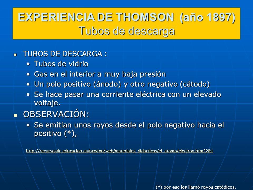 EXPERIENCIA DE THOMSON (año 1897) Tubos de descarga TUBOS DE DESCARGA : TUBOS DE DESCARGA : Tubos de vidrioTubos de vidrio Gas en el interior a muy ba