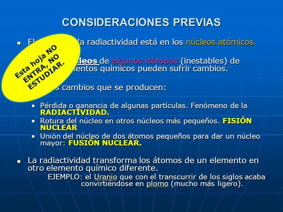 CONSIDERACIONES PREVIAS El origen de la radiactividad está en los núcleos atómicos. El origen de la radiactividad está en los núcleos atómicos. Sólo l