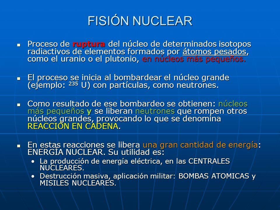 Proceso de ruptura del núcleo de determinados isotopos radiactivos de elementos formados por átomos pesados, como el uranio o el plutonio, en núcleos