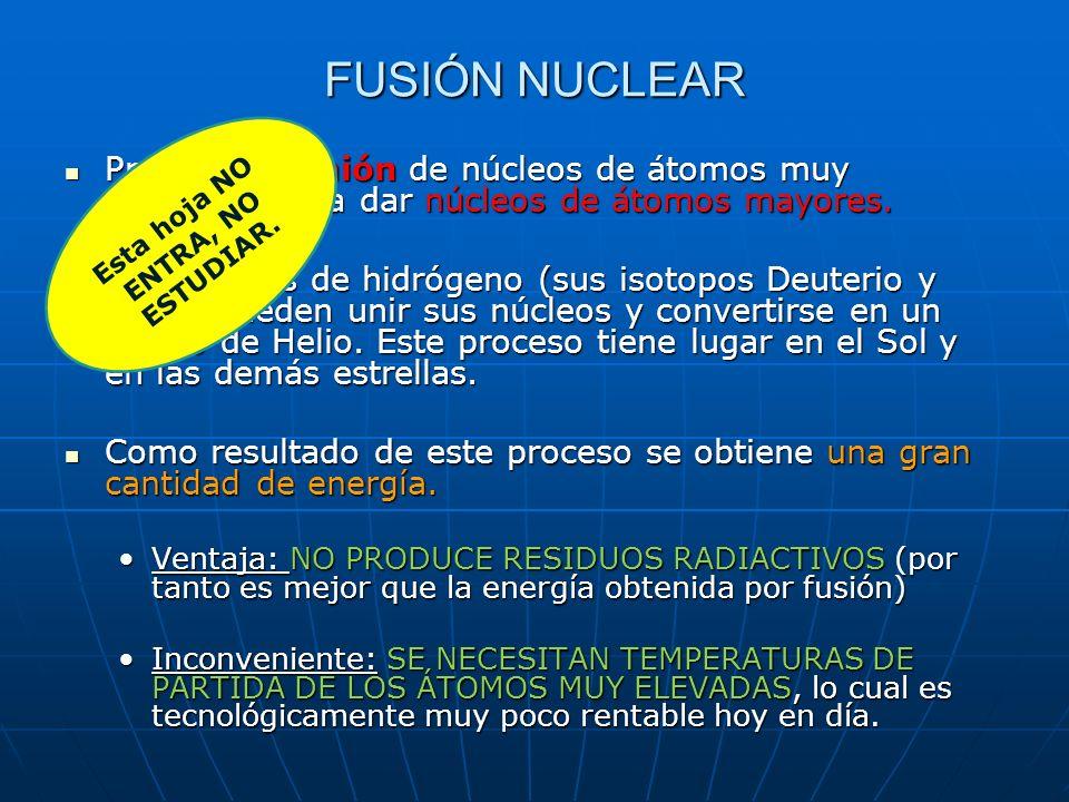 Proceso de unión de núcleos de átomos muy pequeños para dar núcleos de átomos mayores. Proceso de unión de núcleos de átomos muy pequeños para dar núc