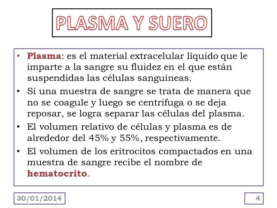 Plasma: es el material extracelular líquido que le imparte a la sangre su fluidez en el que están suspendidas las células sanguíneas. Si una muestra d