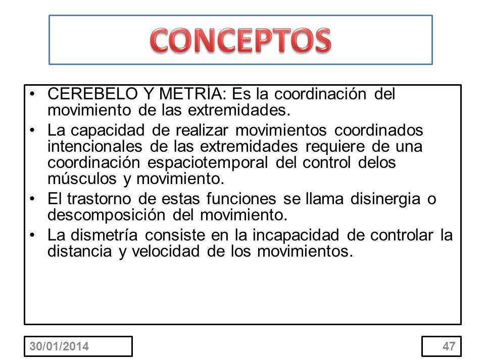 CEREBELO Y METRÍA: Es la coordinación del movimiento de las extremidades. La capacidad de realizar movimientos coordinados intencionales de las extrem