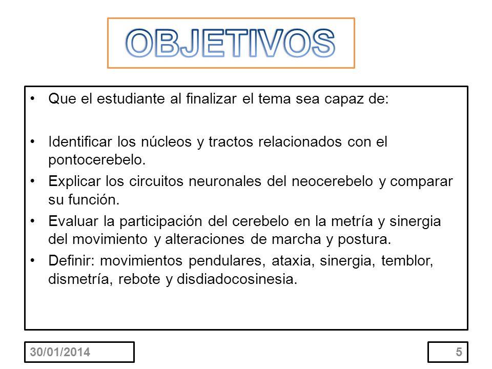 Que el estudiante al finalizar el tema sea capaz de: Identificar los núcleos y tractos relacionados con el pontocerebelo. Explicar los circuitos neuro