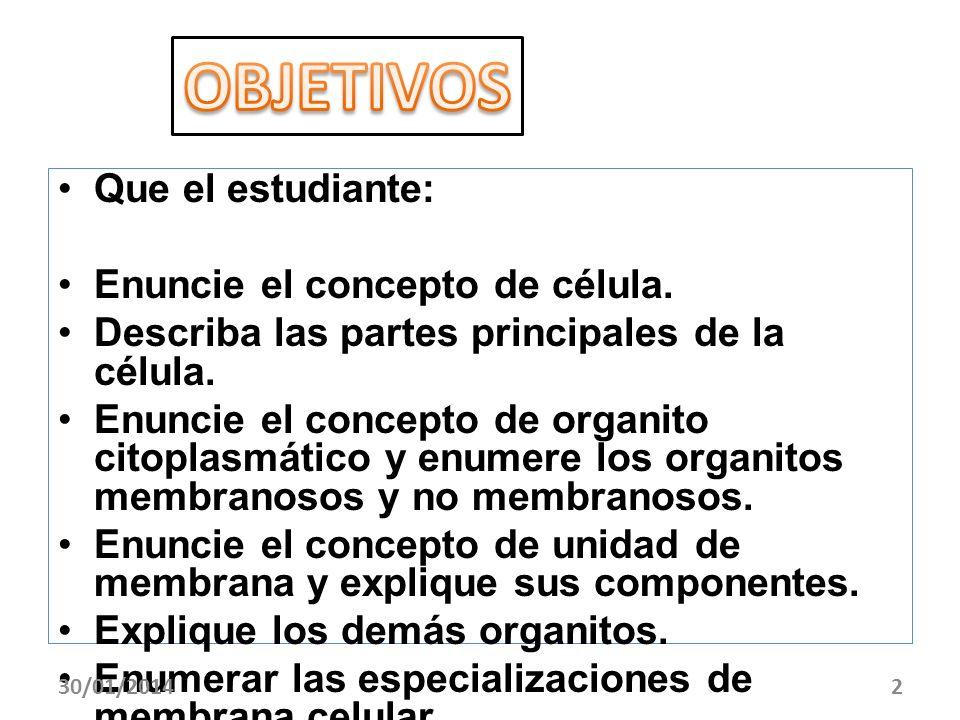 Que el estudiante: Enuncie el concepto de célula. Describa las partes principales de la célula. Enuncie el concepto de organito citoplasmático y enume